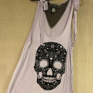 Lavender lace up skull tank top